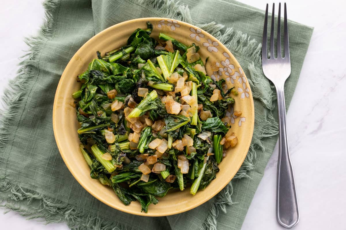 Southern Turnip Greens in large serving bowl.