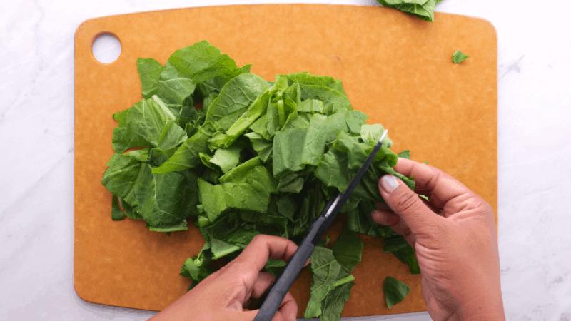 Chop turnip greens with kitchen shears.
