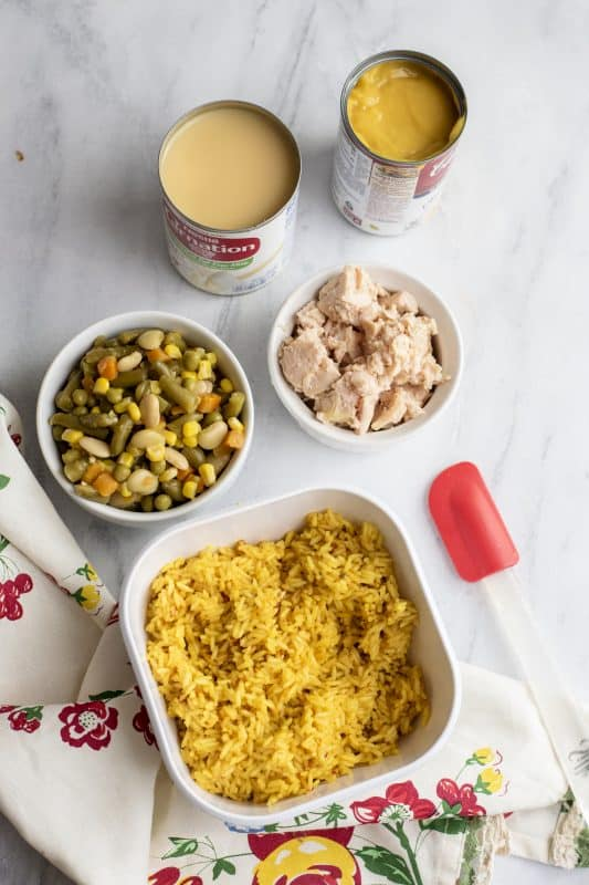 Ingredients for Chicken and Rice Bake