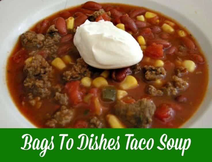 Taco Soup ~Bags To Dishes~ Never have to worry what's for supper again when you assemble these shelf stable bag meals! Just grab a bag and know you have all you need for a delicious supper.