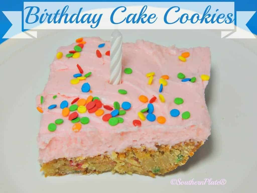Birthday Cake Cookies - LOVE the cake like flavors of these delicious blondes, topped with fluffy buttercream!