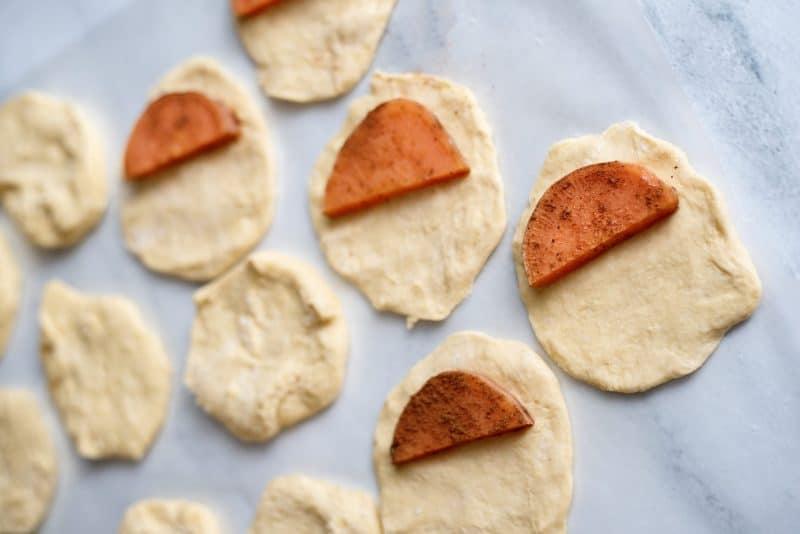 put sweet potato halve in biscuit