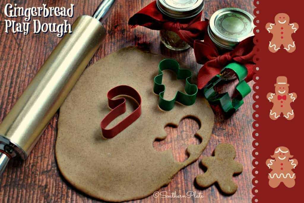 "Gingerbread Play Dough -Be the amazing Mama or Grandmama who pulls out this gingerbread scented play dough for the kids to ""make"" their own cookies with! Have jars packaged up for them to take home for more fun later because this makes a great gift!"