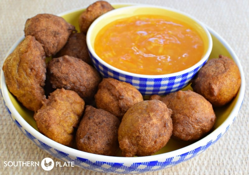 Spiced Fritters with Orange Marmalade Dipping Sauce