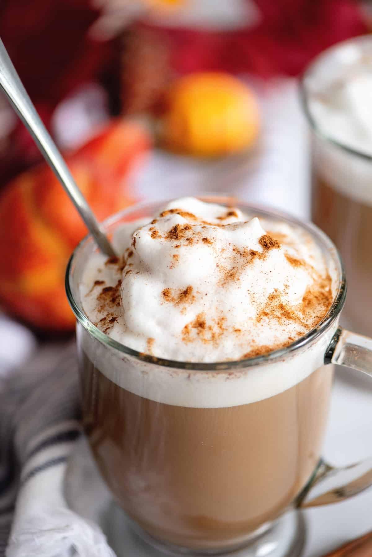 Cup of sugar-free pumpkin spice latte.