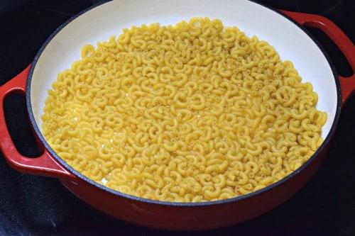 dry pasta in pan