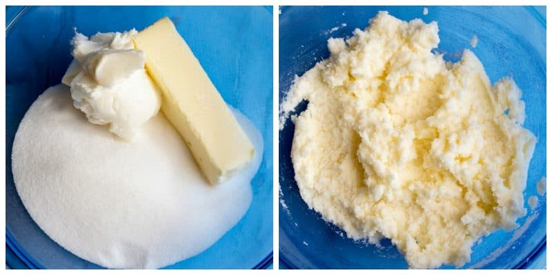 beating butter and shortening with sugar til fluffy