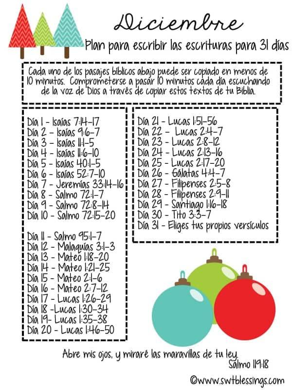 DECEMBER SCRIPTURE PLAN Spanish