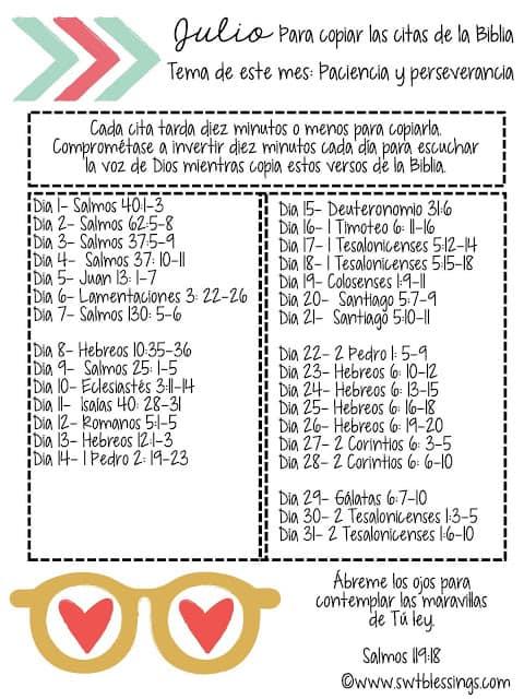 JULY Scripture Writing Plan Spanish