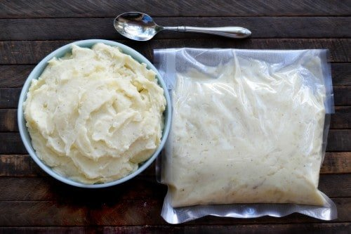 Freezer Mashed Potatoes, in bowl and in a FoodSaver bag