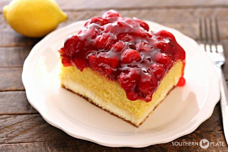 Magic Lemon Cherry Cheesecake from SouthernPlate
