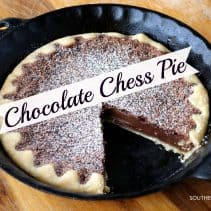 chocolate chess pie in pan