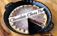chocolate chess pie in pan