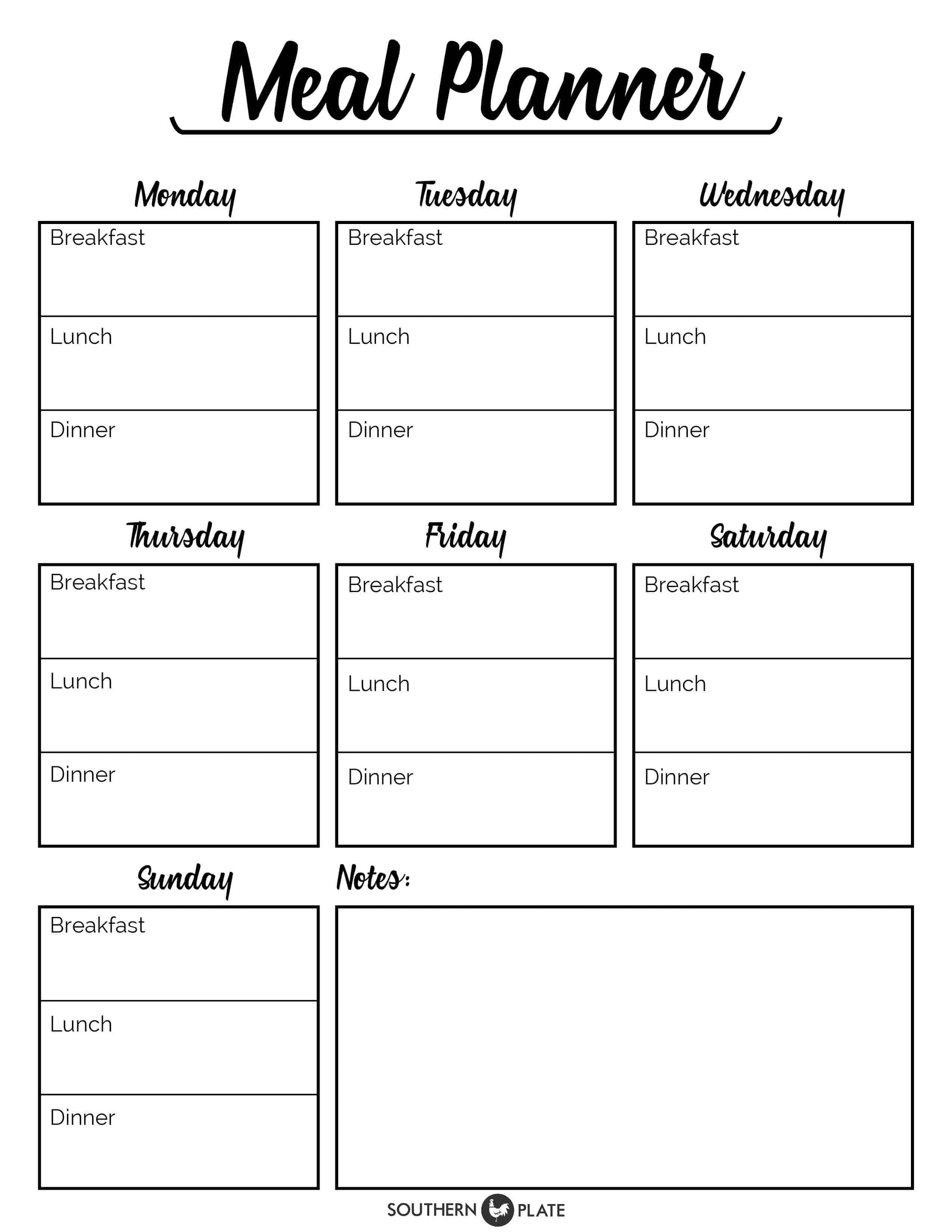 photograph regarding Free Printable Meal Plan Template identify No cost Printable Menu Planner Sheet - Southern Plate