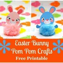 square easter bunny pom pom