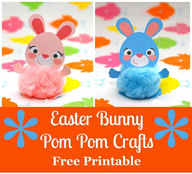 Bunny Pom Pom Crafts (with free printable)