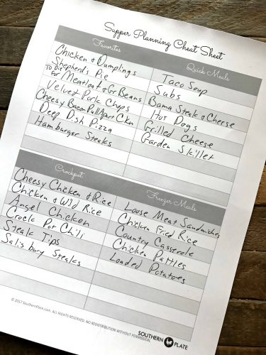 sample supper planning cheat sheet