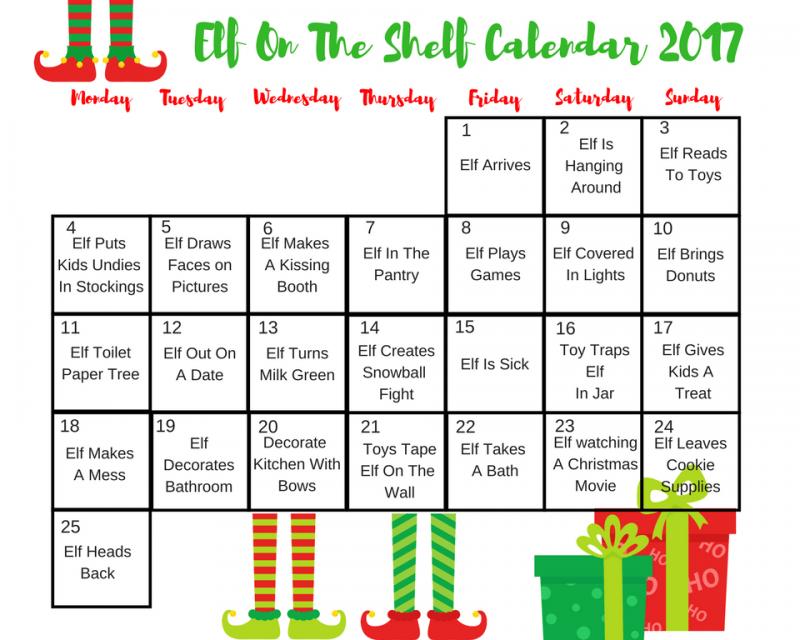 Elf on The Shelf Calendar of Ideas! | Southern Plate