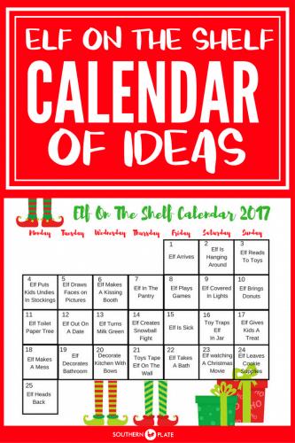 Calendar Name Ideas : Elf on the shelf calendar of ideas southern plate