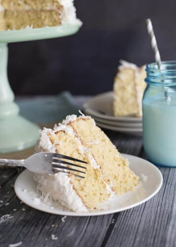Old-fashioned coconut cake slice