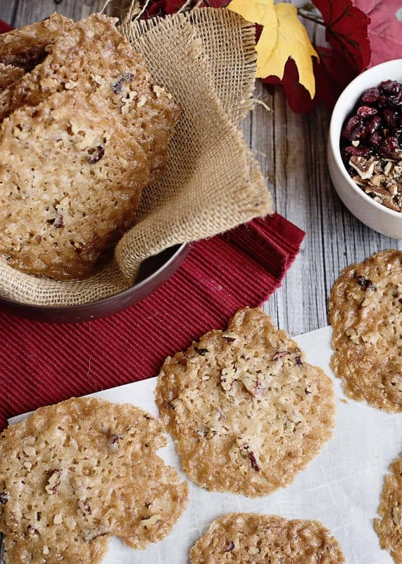 Cranberry Pecan Lace Cookies