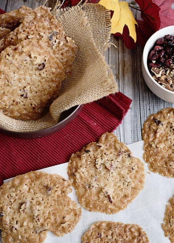 Cranberry Pecan Lace Cookies