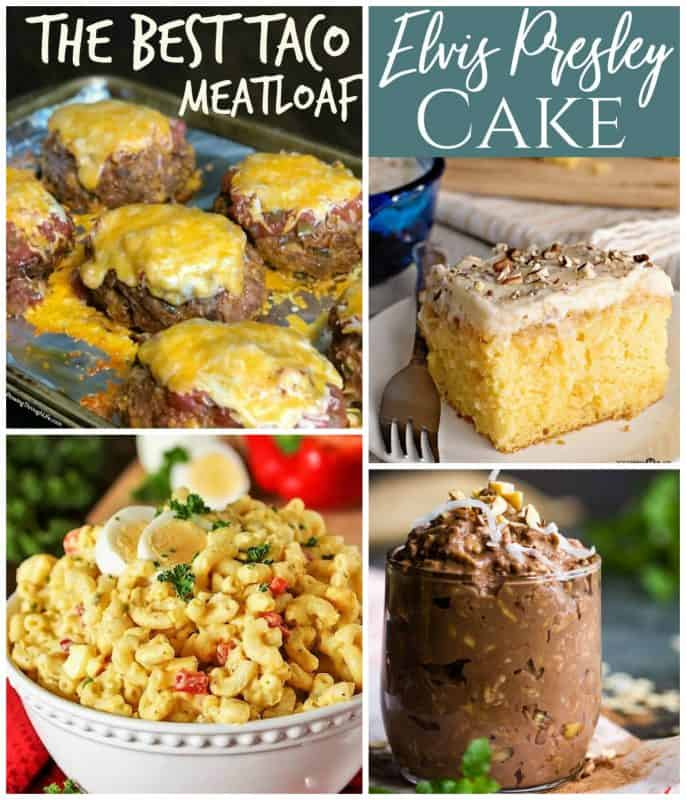 Meal Plan Monday collage of taco meatloaf, Elvis Presley cake, macaroni salad, and chocolate oats