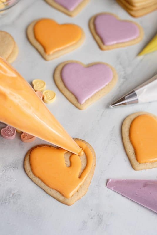 Royal Icing on heart shaped cookies