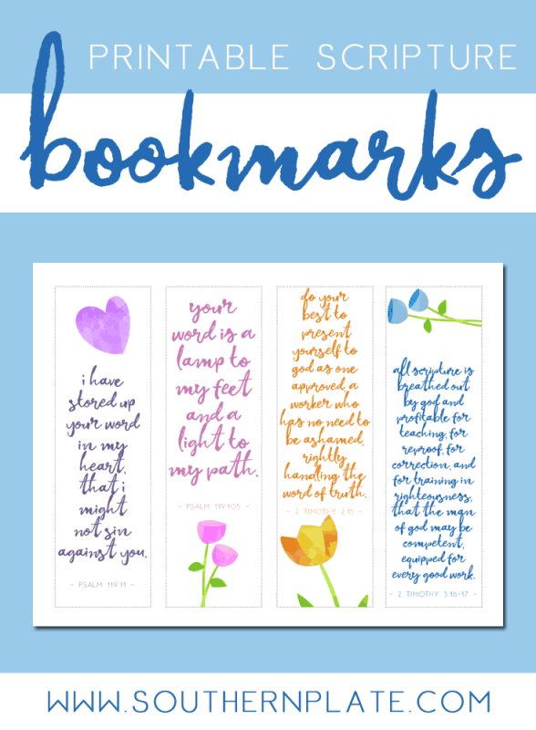 graphic about Printable Bookmarks Pdf named Cost-free Printable Scripture Bookmarks - Southern Plate