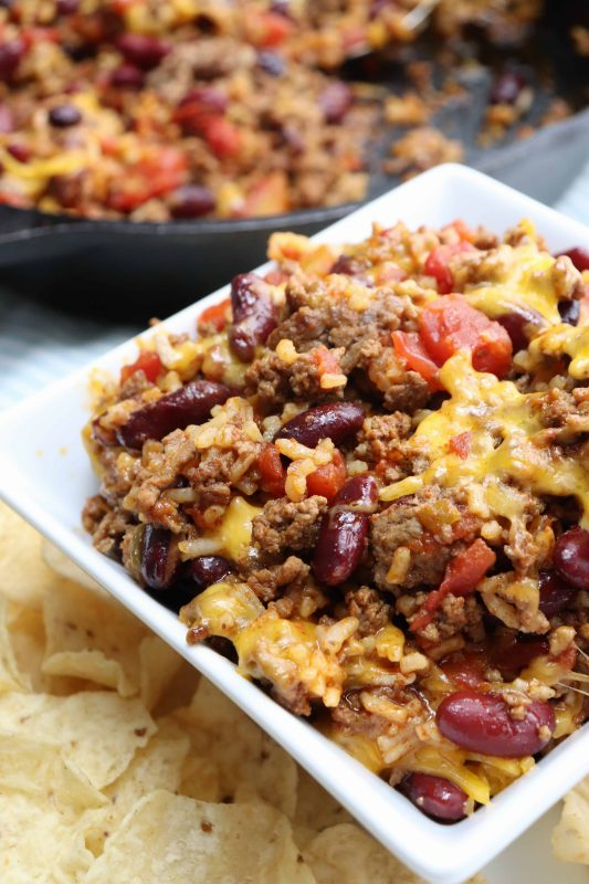 One Skillet Chili Bake ready to eat
