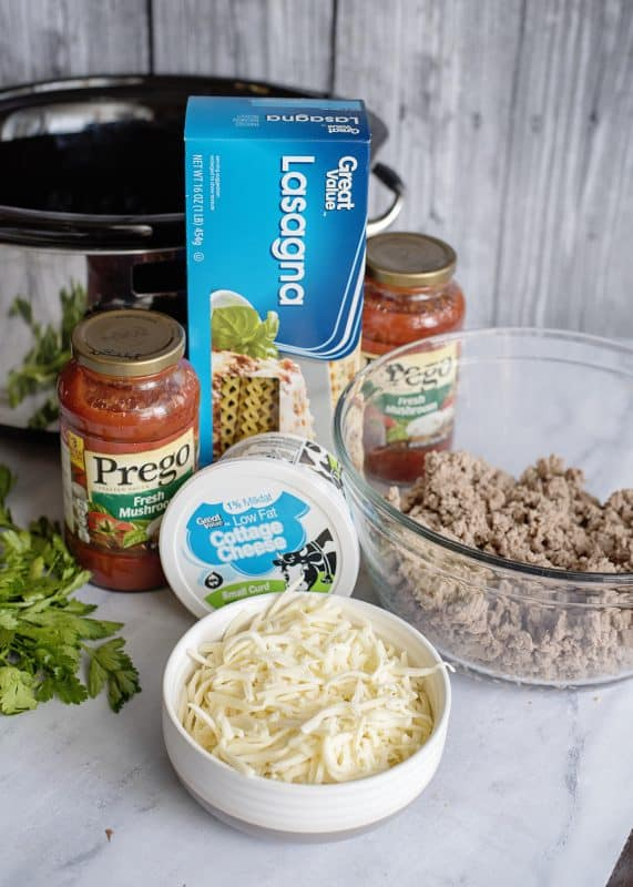 Ingredients for Southern Plate's Crock Pot Lasagna