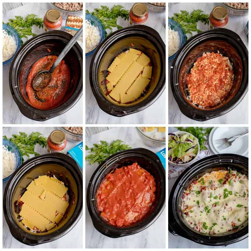 Assembling Southern Plate's Crock Pot Lasagna