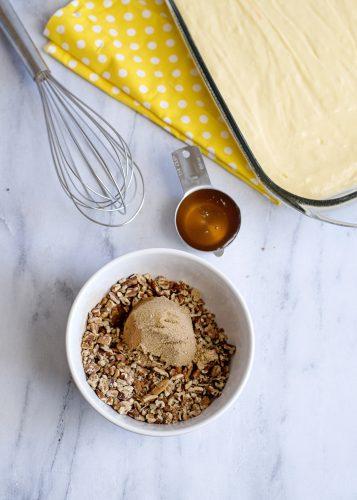 Mixing topping for Honey Bun Cake