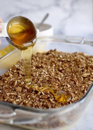Adding Honey to Honey Bun Cake
