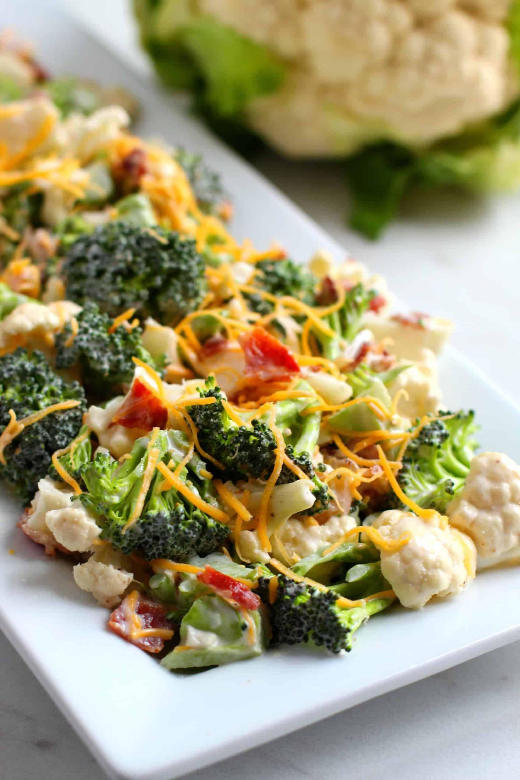 Low Carb Broccoli Cauliflower Salad Southern Plate