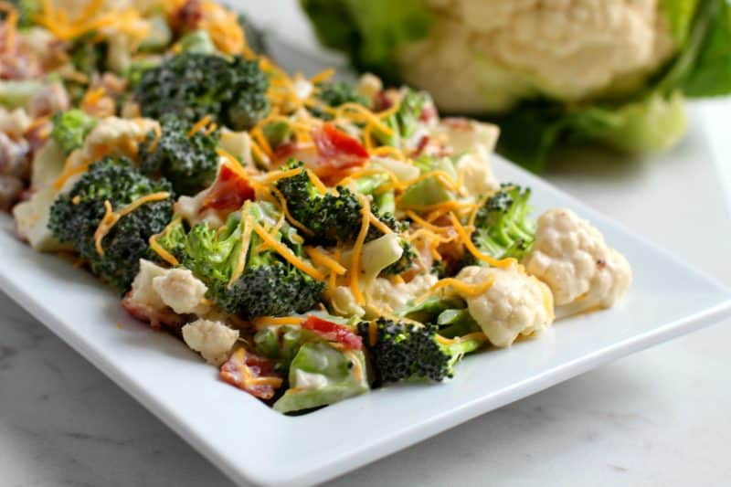 DELICIOUS Low Carb Broccoli Cauliflower Salad