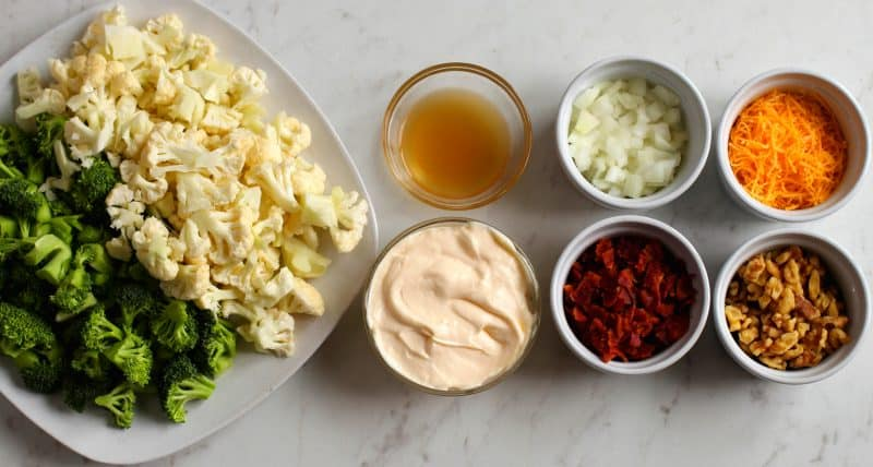Ingredients for Low Carb Broccoli Cauliflower Salad