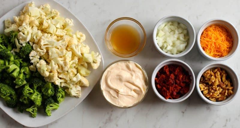 Ingredients for Low Carb Broccoli Cauliflower Salad