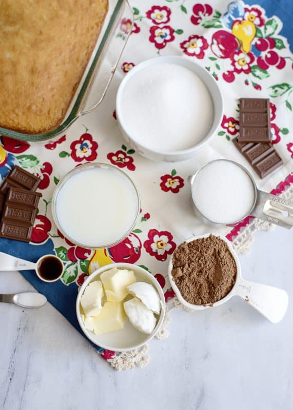 Ingredients for Grandma Pearl's Flaky Chocolate Icing