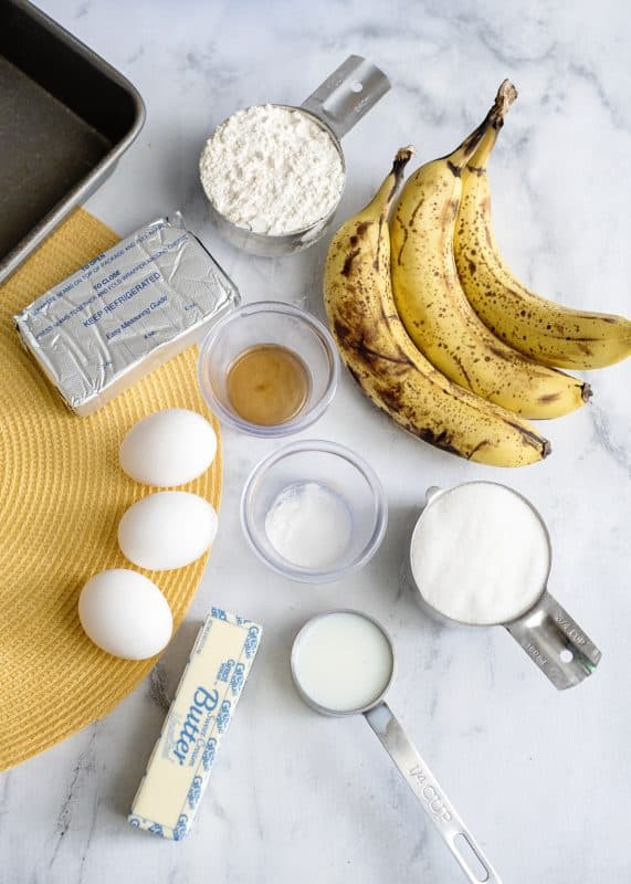 Ingredients for Cream Cheese Filled Banana Bread