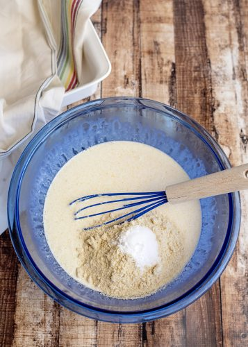 Mixing up Keto Cornbread