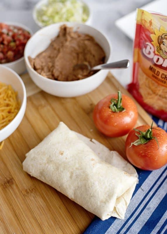 rolling burritos