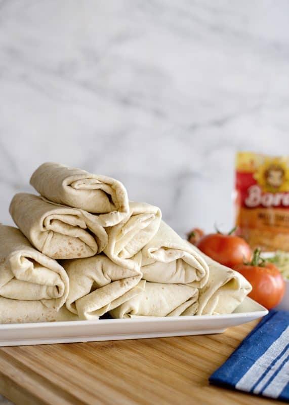 platter of burritos