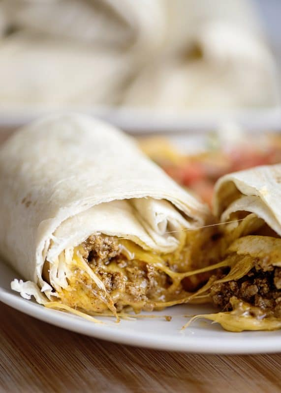 cheesy beef and bean burrito closeup