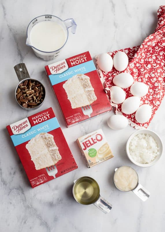 ingredients for Italian Cream Cake