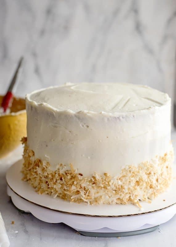 Decorating Jyl's Italian Cream cake