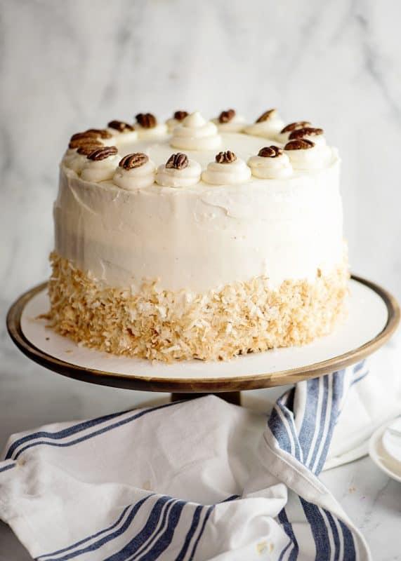 Jyl's Italian Cream Cake on pedestal