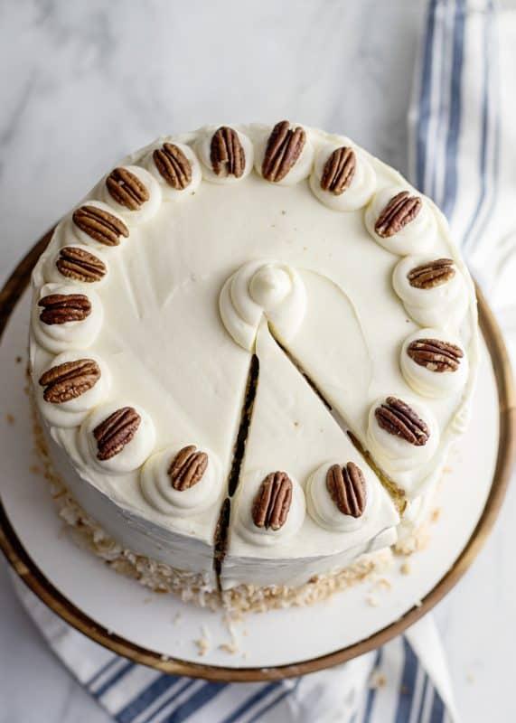 Jyl's Italian Cream Cake decorated with pecans