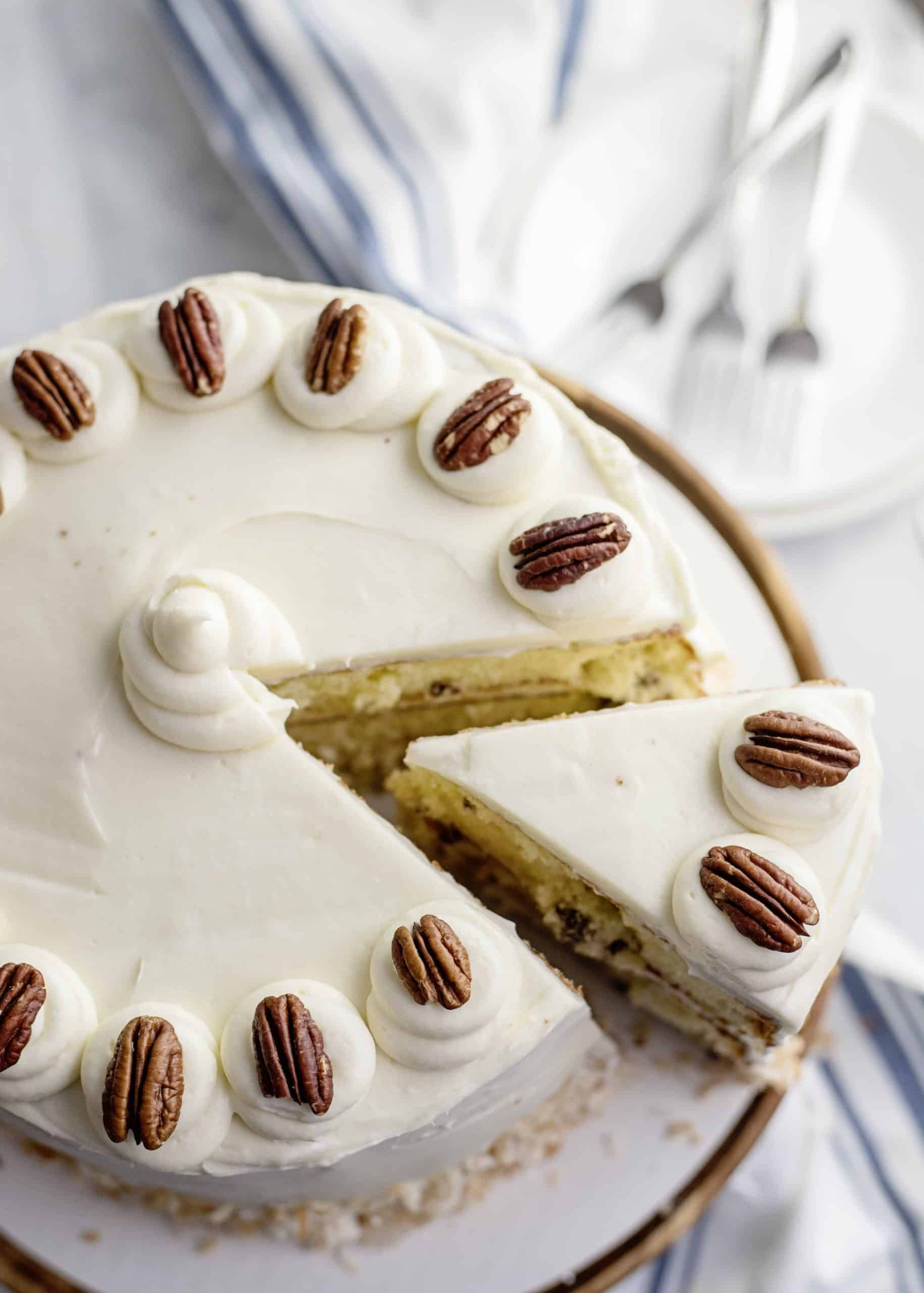 Slicing Italian Cream Cake