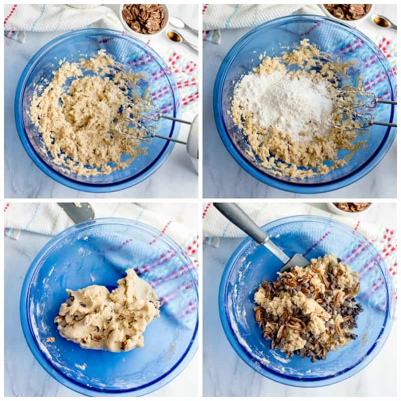 Steps to mixing Butter Pecan Shortbread chippers